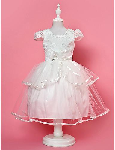 Ball Gown Jewel Knee-length Satin Short Sleeve Flower Girl Dress