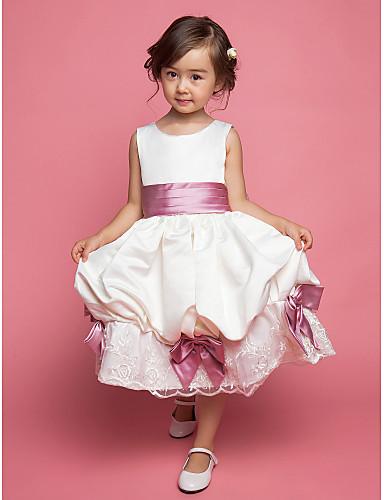 A-line knælængde blomsterpige kjole - chiffon tulle ærmerøs stropper med bue