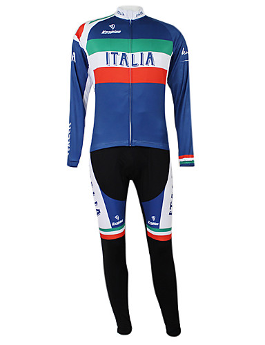 cheap Cycling Clothing-Malciklo Unisex Long Sleeve Cycling Jersey with Tights - Royal Blue+Green Italy Champion National Flag Bike Clothing Suit Windproof Quick Dry Waterproof Zipper Sports Polyester Elastane Mountain Bike