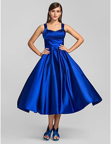 billige Feriekjoler-A-linje Firkantet hals Telang Elastisk sateng Cocktailfest Kjole med Kryssdrapering av TS Couture®