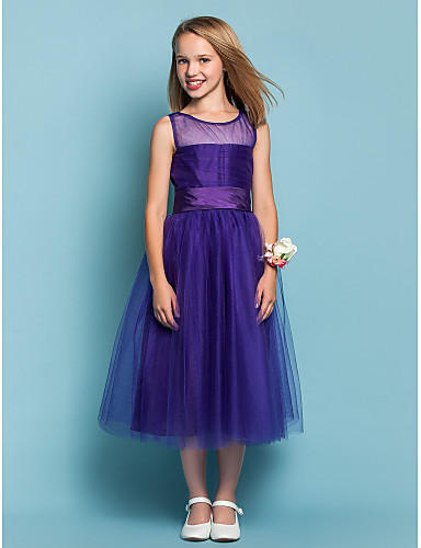 A-Line Princess Jewel Neck Tea Length Tulle Junior Bridesmaid Dress with Ruched by LAN TING BRIDE®