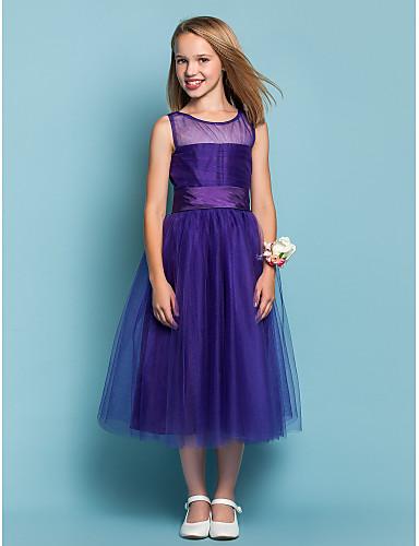 A-Şekilli Prenses Taşlı Yaka Diz Altı Tül Kırma Dantel ile Çocuk Nedime Elbisesi tarafından LAN TING BRIDE®