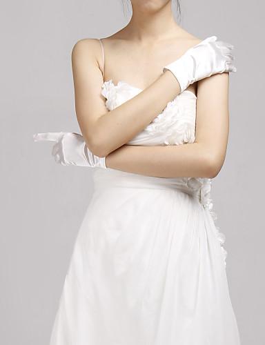 Baumwolle Elastischer Satin Handgelenk-Länge Handschuh Charme Stilvoll Brauthandschuhe With Stickerei Einfarbig