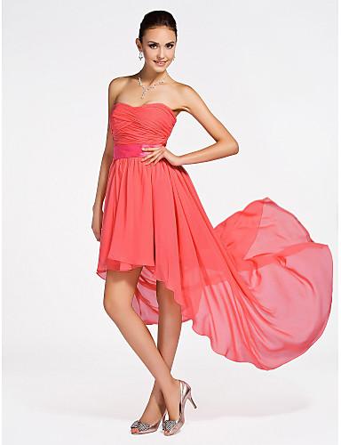 Γραμμή Α / Πριγκίπισσα Στράπλες / Καρδιά Κοντό / Μίνι / Ασύμμετρο Σιφόν Φόρεμα Παρανύμφων με Που καλύπτει / Χιαστί / Πιασίματα με LAN TING BRIDE®