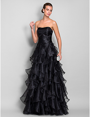 a7814963 A-Line Sweetheart Neckline Floor Length Organza Prom / Formal Evening Dress  with Cascading Ruffles / Ruched by TS Couture®