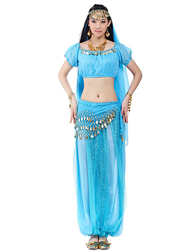 Belly Dance Outfits Women's Chiffon Beading Coin Natural
