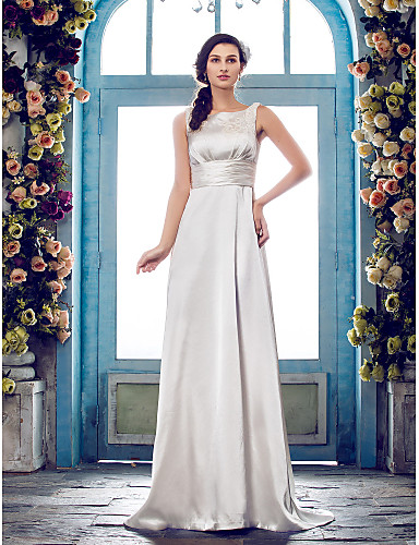 Sheath / Column Scoop Neck Sweep / Brush Train Satin Wedding Dress with Beading Sash / Ribbon Button by LAN TING BRIDE®