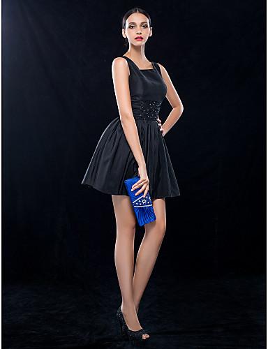 A-kroj Haljina sa širokom suknjom Četvrtasti izrez Kratki / mini Taft Koktel zabava Svadba Haljina s Perlica Nabrano po TS Couture®