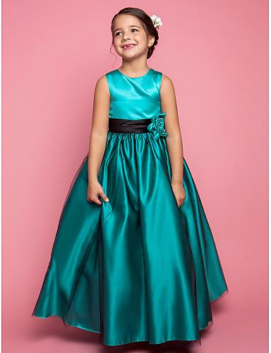 A-line princeza poda duljina cvijet djevojka haljina - saten tulle bez rukava dragulj vrat s cvijetom lan ting mladenka ®