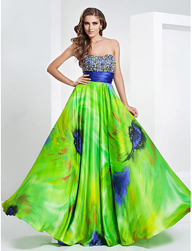 A-Line Princess Strapless Sweetheart Floor Length Stretch Satin Prom Formal Evening Military Ball Dress with Beading Crystal Detailing