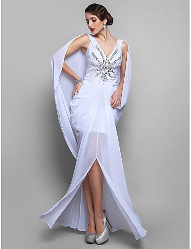 Eng anliegend V-Ausschnitt Boden-Länge Chiffon Cocktailparty Kleid mit Kristall Verzierung Drapiert Gerafft durch TS Couture®
