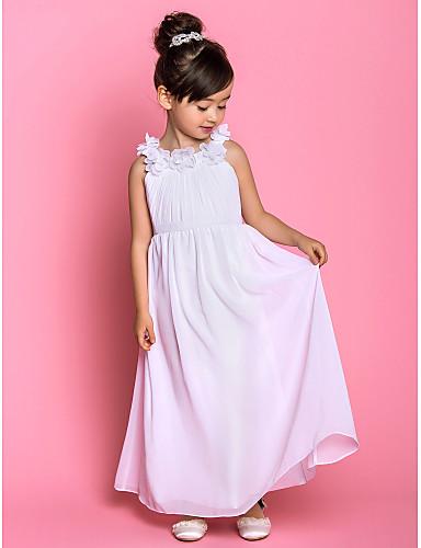 A-line glezna lungime floare fata rochie - chiffon gât cu mânecă fără buzunar cu draping de lan ting bride®