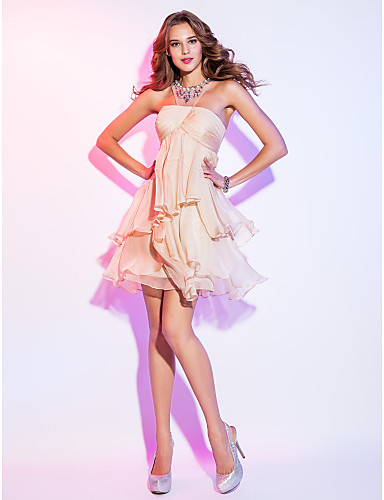 cheap Prom Dresses-A-Line Illusion Neck Short / Mini Chiffon Open Back / See Through Cocktail Party Dress with Crystals / Cascading Ruffles by TS Couture®