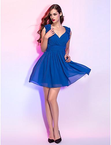A-Linie V-Ausschnitt Kurz / Mini Chiffon Cocktailparty Kleid mit Gerafft / Blume durch TS Couture®