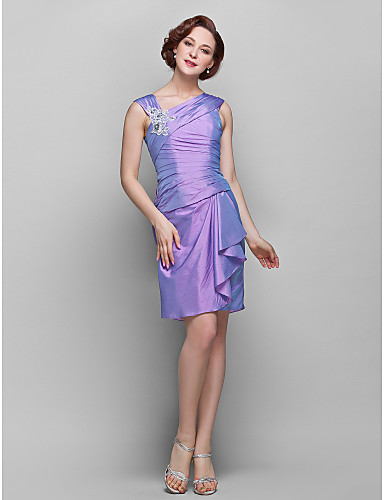 Sheath / Column V Neck Knee Length Taffeta Mother of the Bride Dress with Lace Flower Ruched by LAN TING BRIDE®