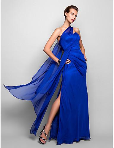 Sütun Tek Omuz Yere Kadar Şifon Yan Drape ile Resmi Akşam / Askeri Balo Elbise tarafından TS Couture® / Açık Sırtlı