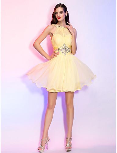 A-Linie Illusionsausschnitt Kurz / Mini Chiffon Festtage Kleid mit Perlenstickerei Kristall Verzierung Gerafft durch TS Couture®