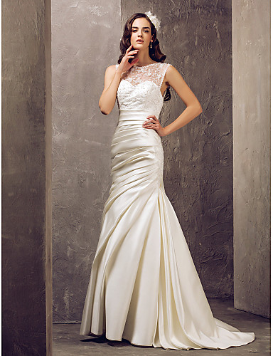 Mermaid / Trumpet Illusion Neckline Sweep / Brush Train Lace Satin Wedding Dress with Beading Appliques Side-Draped Button by LAN TING