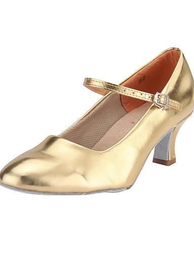 billige Bryllup- & Eventsalg-Dame Dansesko PU Moderne sko / Ballett Spenne Høye hæler Utsvingende hæl Kan ikke spesialtilpasses Svart / Rød / Sølv / EU39