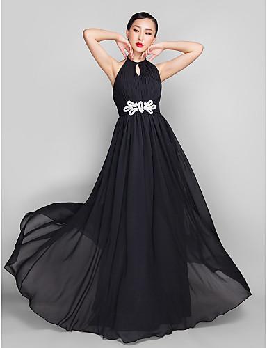 Linia -A Gât Înalt Lungime Podea Șifon Seară Formală Bal Militar Petrecere Nuntă Rochie cu Mărgele de TS Couture®