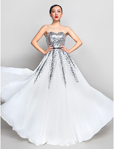 A-Line Sweetheart Floor Length Chiffon Sequined Prom / Formal Evening / Military Ball Dress with Sequin by TS Couture®