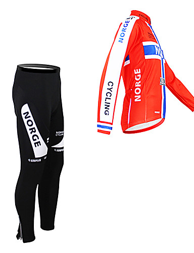 cheap Cycling Clothing-Malciklo Men's Long Sleeve Cycling Jersey with Tights Norway Champion National Flag Bike Clothing Suit Thermal / Warm Fleece Lining Breathable Winter Sports Polyester Fleece Norway Mountain Bike MTB