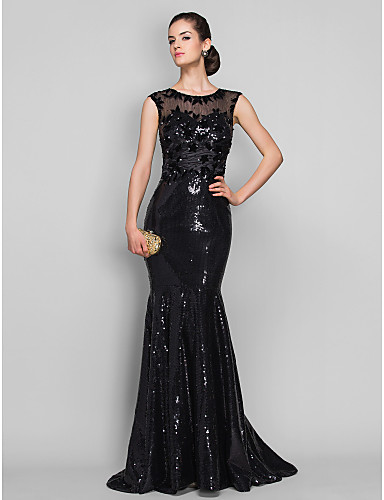 Mermaid / Trumpet Illusion Neckline Sweep / Brush Train Tulle Sequined Formal Evening Dress with Beading Appliques by TS Couture®