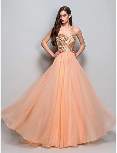 A-Line Princess Strapless Sweetheart Floor Length Chiffon Prom / Formal Evening / Military Ball Dress with Sequin Draping Criss Cross by