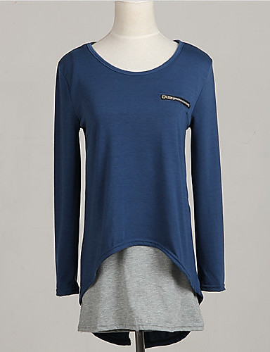 Women's All Seasons T-shirt,Patchwork Round Neck Long Sleeve Blue Cotton Medium