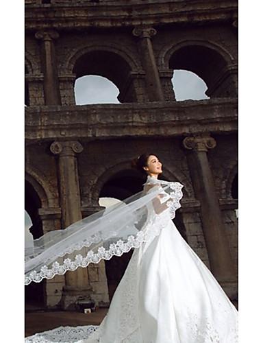 Einschichtig Spitzen-Saum Hochzeitsschleier Kathedralen Schleier Mit 196,85 in (500cm) Tüll A-linie,Ball Kleid, Prinzessin,Klassisches