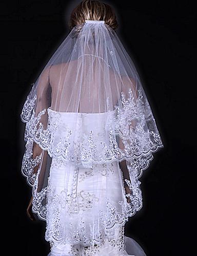 Two-tier Lace Applique Edge Wedding Veil Fingertip Veils 53 31.5 in (80cm) Tulle A-line, Ball Gown, Princess, Sheath/ Column, Trumpet/