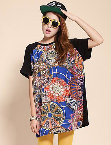 Majica s rukavima Ženski,Aktivan Ležerno/za svaki dan Print-Kratkih rukava Okrugli izrez-Ljeto Tanko