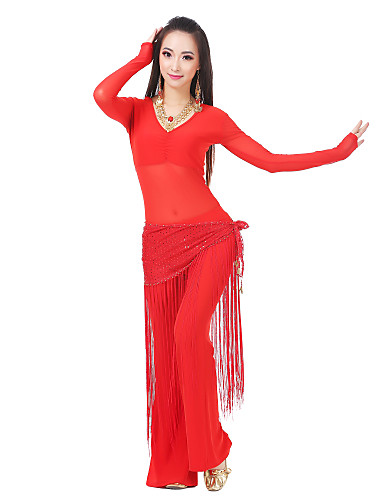 Belly Dance Outfits Women's Training Spandex / Tulle Sequin / Tassel Long Sleeve / 22.44inch(57cm) Dropped / Performance / Ballroom