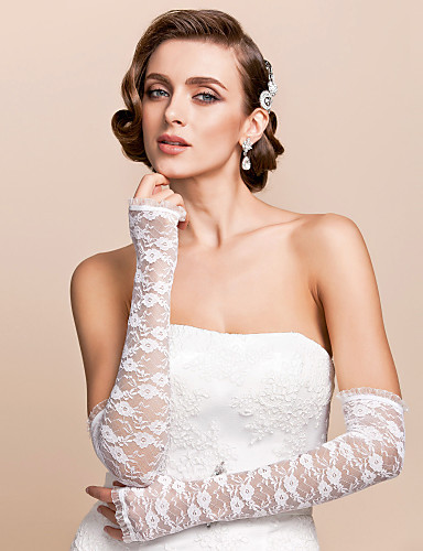 cheap Lace/Voile Gloves-Lace Opera Length Glove Bridal Gloves With Embroidery