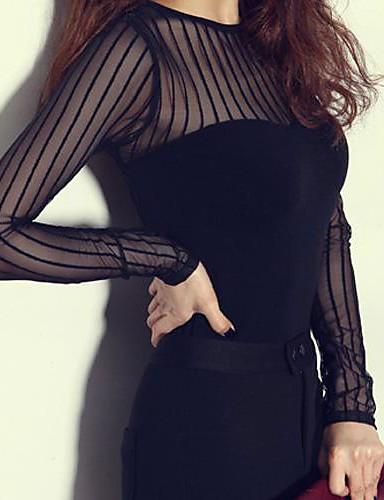 Femei Rotund Tricou Casul/Zilnic Sexy,Mată Manșon Lung Primăvară / Vară-Negru Subțire Bumbac / Nailon / Spandex