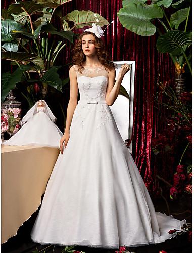 preiswerte Hochzeitskleider-A-Linie Schmuck Pinsel Schleppe Chiffon / Spitze Maßgeschneiderte Brautkleider mit Schleife / Perlenstickerei / Schärpe / Band durch