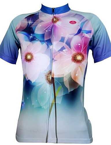 ILPALADINO Women s Short Sleeve Cycling Jersey Floral   Botanical Plus Size  Bike Jersey Top Breathable Quick Dry Ultraviolet Resistant Sports 100%  Polyester ... 85716a469