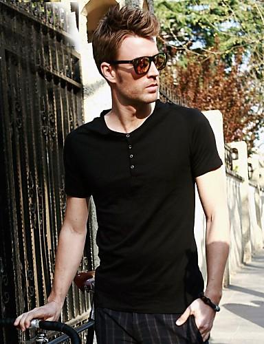 Viishow Pánské O Neck Casual Black Cotton Short Sleeve T Shirt TD01422