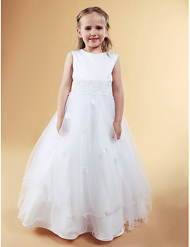 A-Line Princess Floor Length Flower Girl Dress - Satin Tulle Sleeveless Jewel Neck with Beading Appliques Bow(s) Pearl Detailing Flower by