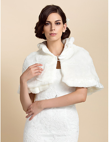 Fur Wraps / Wedding  Wraps Capelets Sleeveless Faux Fur As Picture Shown Wedding / Party/Evening Clasp