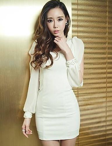 Ricci Women's Bodycon Chiffon White Dress 1010-2