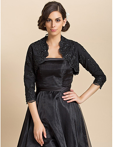 Long Sleeves Lace Wedding Party Evening Casual Wedding  Wraps With Sequin Coats / Jackets