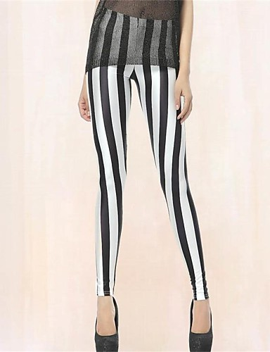 Pinkqueen Vrouwen Spandex Zwart-witte Gestreepte Leggings