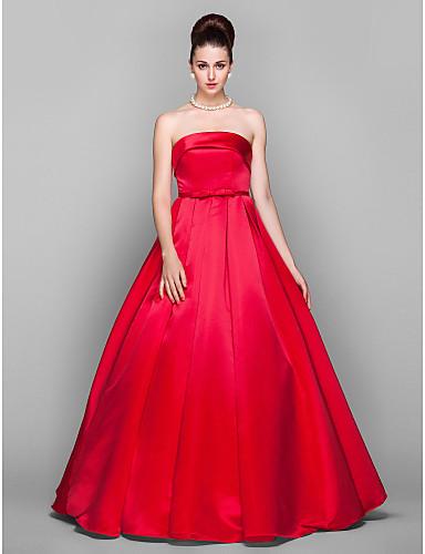 Haine Bal Fără Bretele Lungime Podea Satin Bal / Seară Formală Rochie cu Arc de TS Couture®