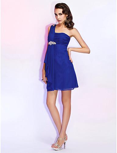 Sütun Tek Omuz Kısa / Mini Şifon Boncuklama Kırma Dantel ile Kokteyl Partisi / Düğün Partisi Elbise tarafından TS Couture®