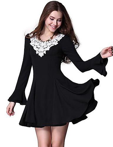 b45f31f2e0 Ever-Pretty női hosszú ujjú Horgolt dekoltázs Full szoknya fekete alkalmi  ruha