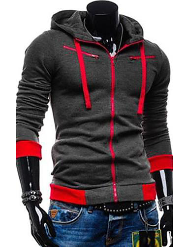 Men's Basic Hoodie Jacket - Color Block