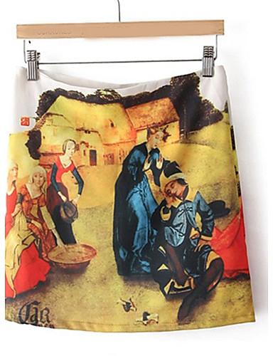 Defne Van Gogh Petrol Renk Vintage çiçekli Etek Etek Boyama 1559443