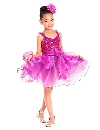 Dětské taneční kostýmy Šaty Trénink Spandex Flitry Volány Bez rukávů Přírodní