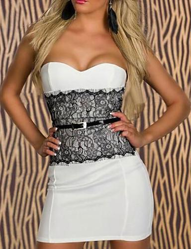 Women's Bodycon Dress Lace Print Mini Strapless